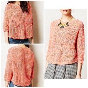 Anthropologie Moth Petite XS Pink Crop Sweater